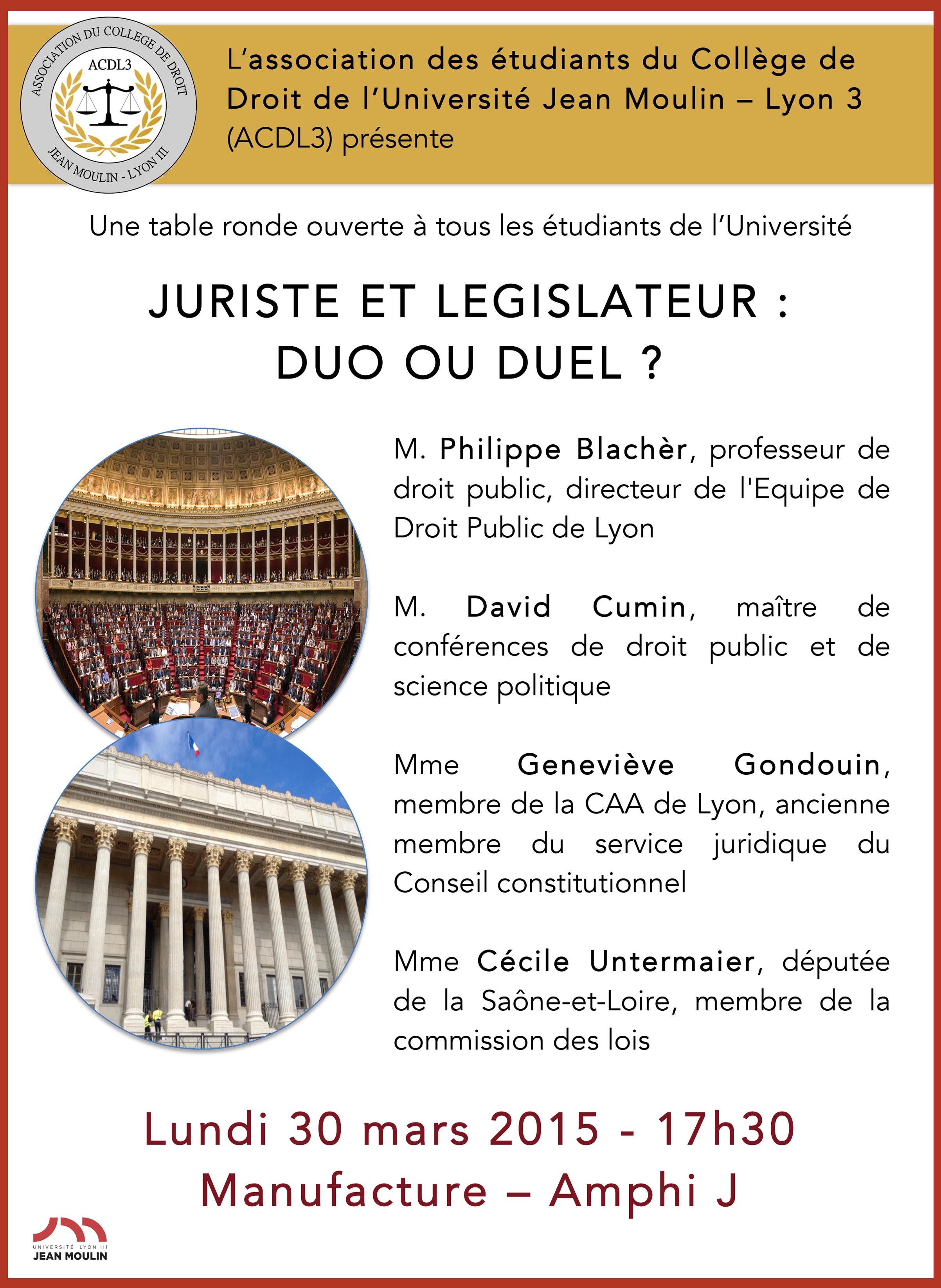 affiche table ronde asso collège de droit