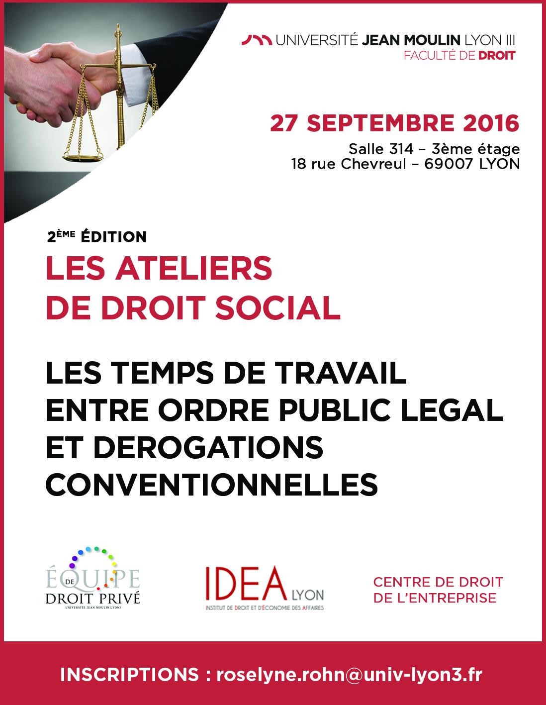 affiche 2ème édition ateliers de droit social