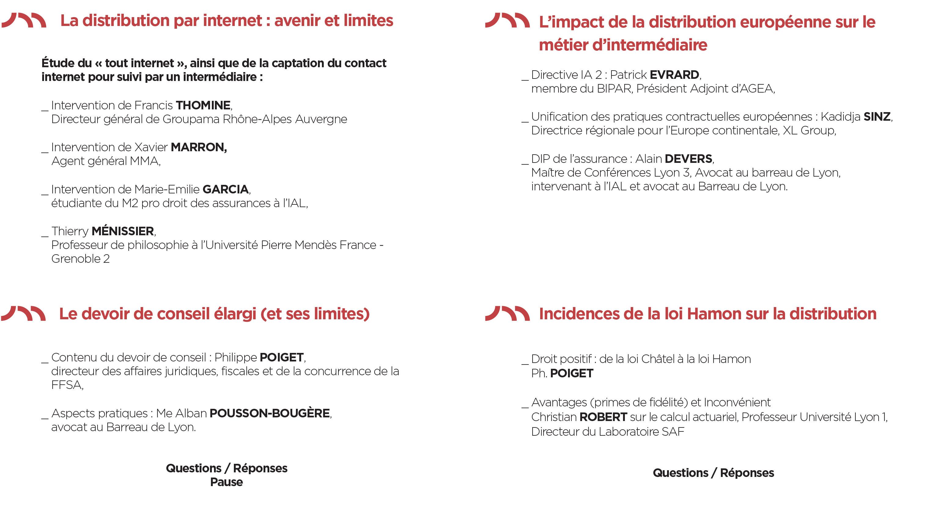 Colloque IAL : La distribution de l'assurance / programme