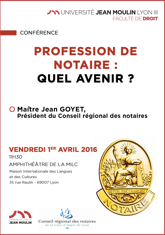 affiche conférence 1 avril, conférence sur la profession de Notaire