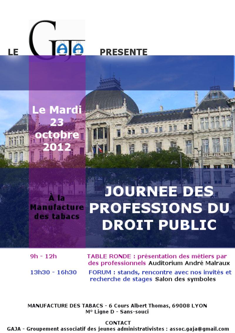 Affiche journée professions droit public - Lyon 3
