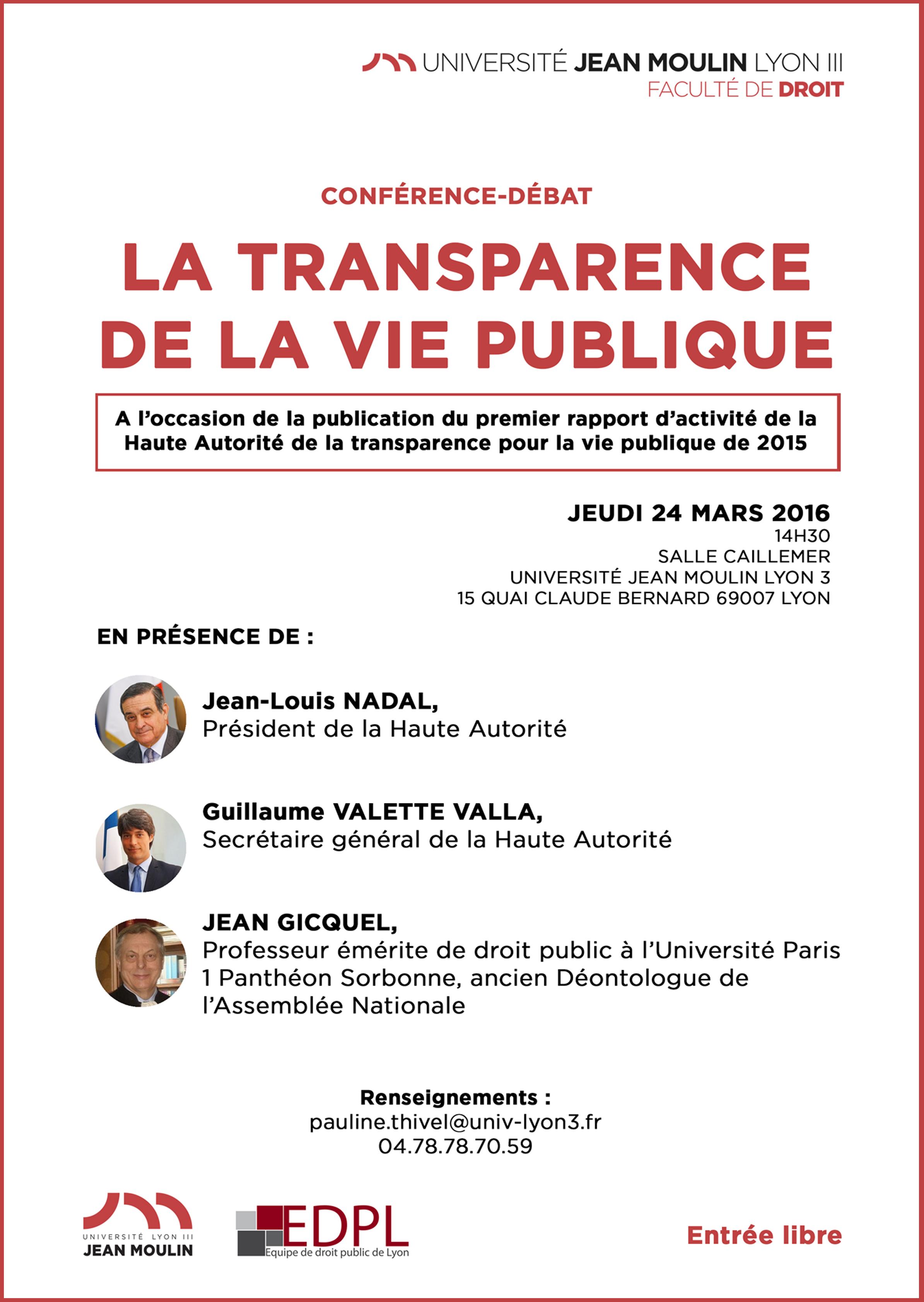 Affiche la transparence de la vie publique