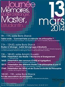 Journée Master et Mémoires en philosophie - 13 mars 2014