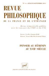 Revue philosophique de la France et de l'étranger n°3 - Juillet-Septembre 2013